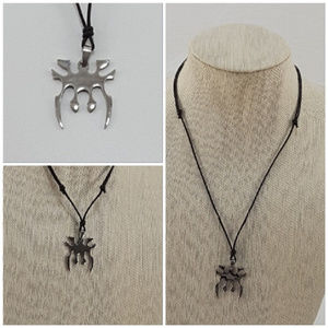 Silvertone Pendant Adjustable Length Necklace